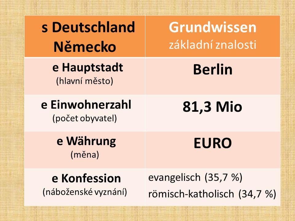 s Deutschland Německo Grundwissen základní znalosti e Hauptstadt (hlavní město) Berlin e Einwohnerzahl (počet obyvatel) 81,3 Mio e Währung (měna) EURO e Konfession (náboženské vyznání) evangelisch (35,7 %) römisch-katholisch (34,7 %)