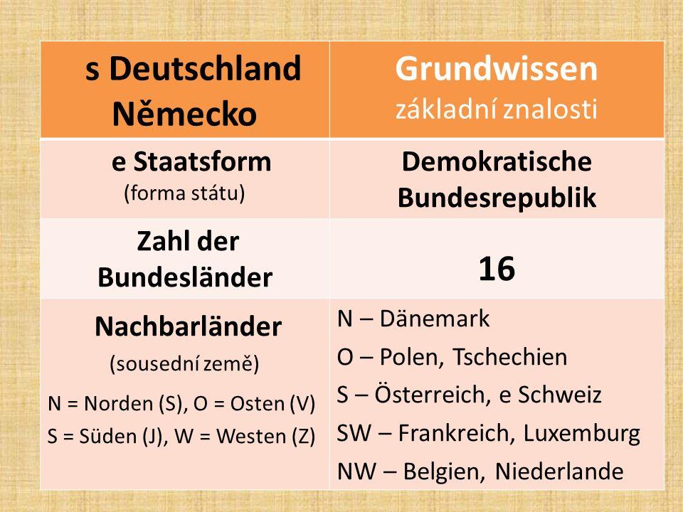 s Deutschland Německo Grundwissen základní znalosti e Staatsform (forma státu) Demokratische Bundesrepublik Zahl der Bundesländer 16 Nachbarländer (sousední země) N = Norden (S), O = Osten (V) S = Süden (J), W = Westen (Z) N – Dänemark O – Polen, Tschechien S – Österreich, e Schweiz SW – Frankreich, Luxemburg NW – Belgien, Niederlande