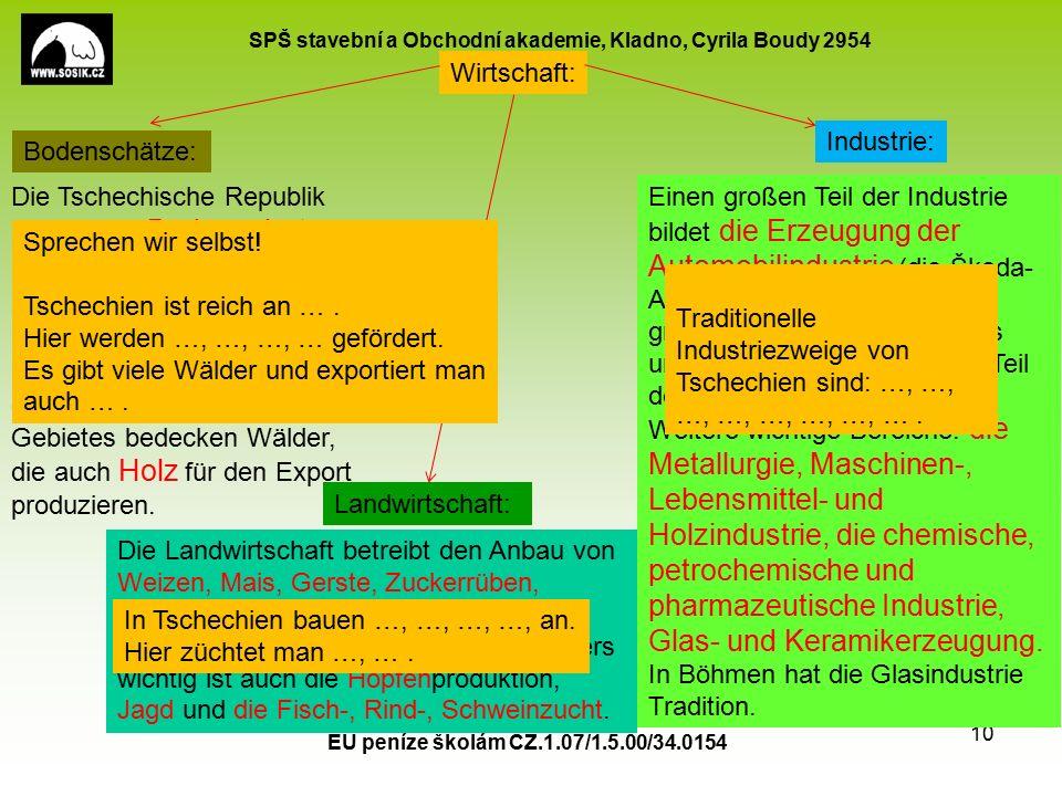 SPŠ stavební a Obchodní akademie, Kladno, Cyrila Boudy 2954 EU peníze školám CZ.1.07/1.5.00/34.0154 10 Landwirtschaft: Bodenschätze: Industrie: Wirtschaft:.