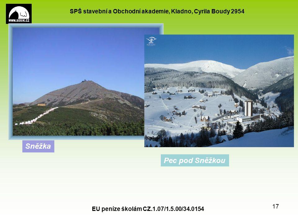 SPŠ stavební a Obchodní akademie, Kladno, Cyrila Boudy 2954 EU peníze školám CZ.1.07/1.5.00/34.0154 17 Sněžka Pec pod Sněžkou