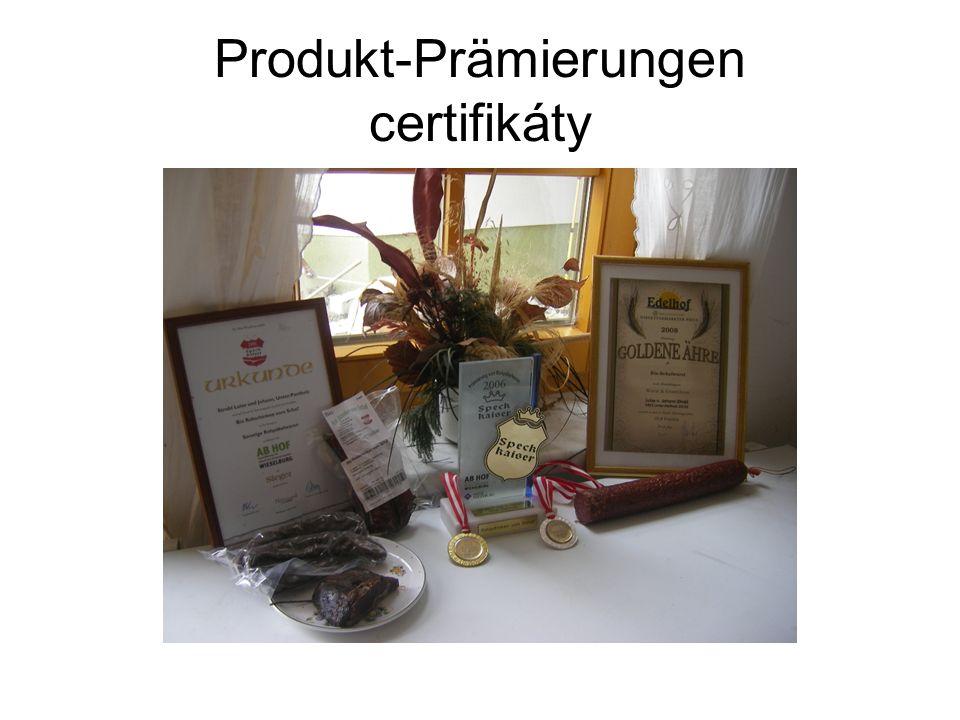 Produkt-Prämierungen certifikáty
