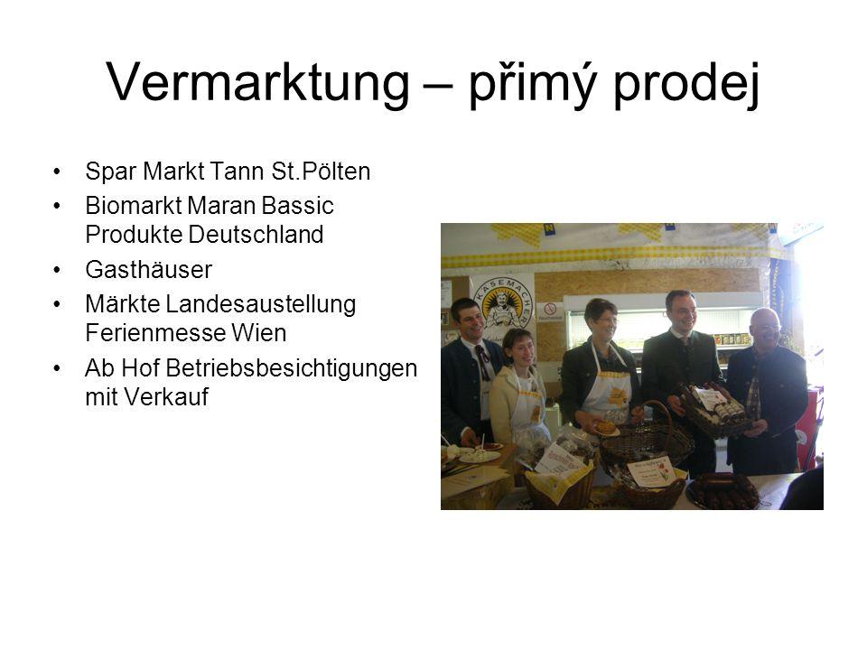 Vermarktung – přimý prodej Spar Markt Tann St.Pölten Biomarkt Maran Bassic Produkte Deutschland Gasthäuser Märkte Landesaustellung Ferienmesse Wien Ab Hof Betriebsbesichtigungen mit Verkauf