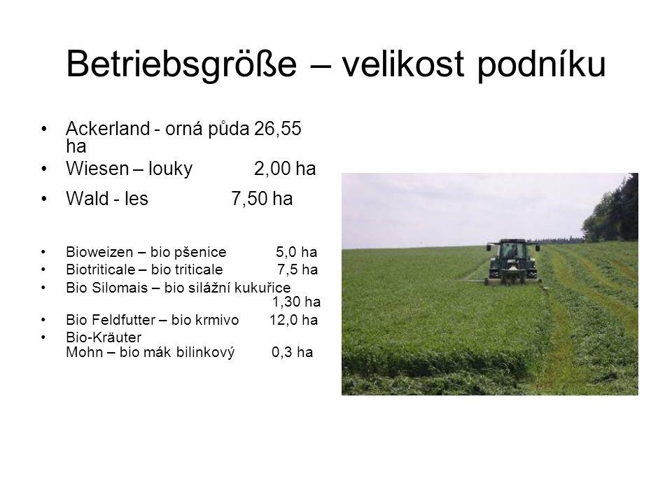 Betriebsgröße – velikost podníku Ackerland - orná půda 26,55 ha Wiesen – louky 2,00 ha Wald - les 7,50 ha Bioweizen – bio pšenice 5,0 ha Biotriticale – bio triticale 7,5 ha Bio Silomais – bio silážní kukuřice 1,30 ha Bio Feldfutter – bio krmivo 12,0 ha Bio-Kräuter Mohn – bio mák bilinkový 0,3 ha
