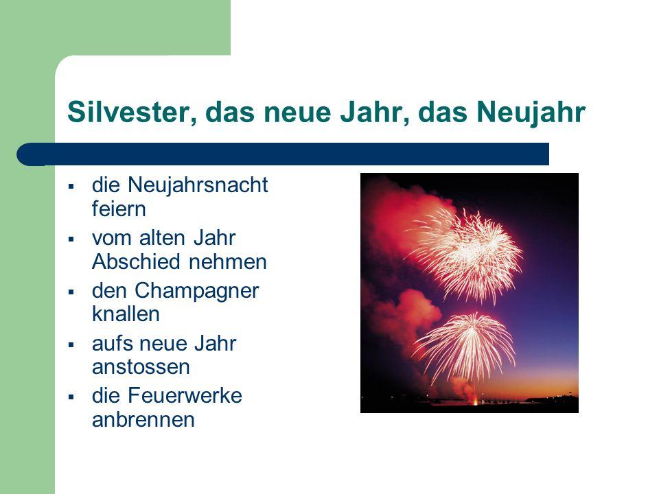 Silvester, das neue Jahr, das Neujahr  die Neujahrsnacht feiern  vom alten Jahr Abschied nehmen  den Champagner knallen  aufs neue Jahr anstossen  die Feuerwerke anbrennen