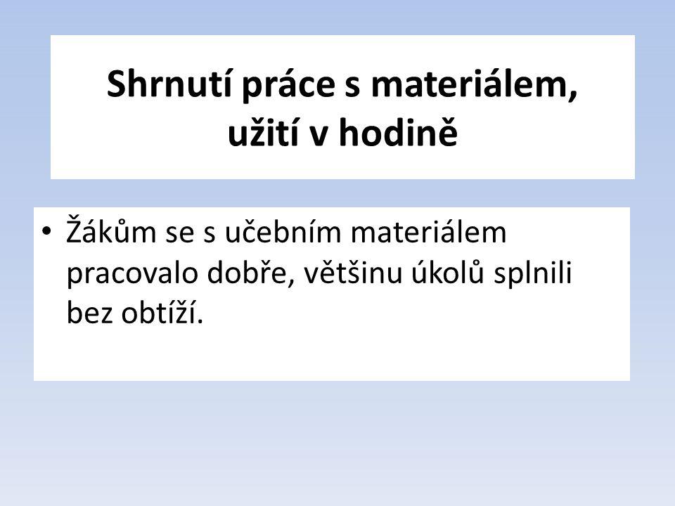 Shrnutí práce s materiálem, užití v hodině Žákům se s učebním materiálem pracovalo dobře, většinu úkolů splnili bez obtíží.