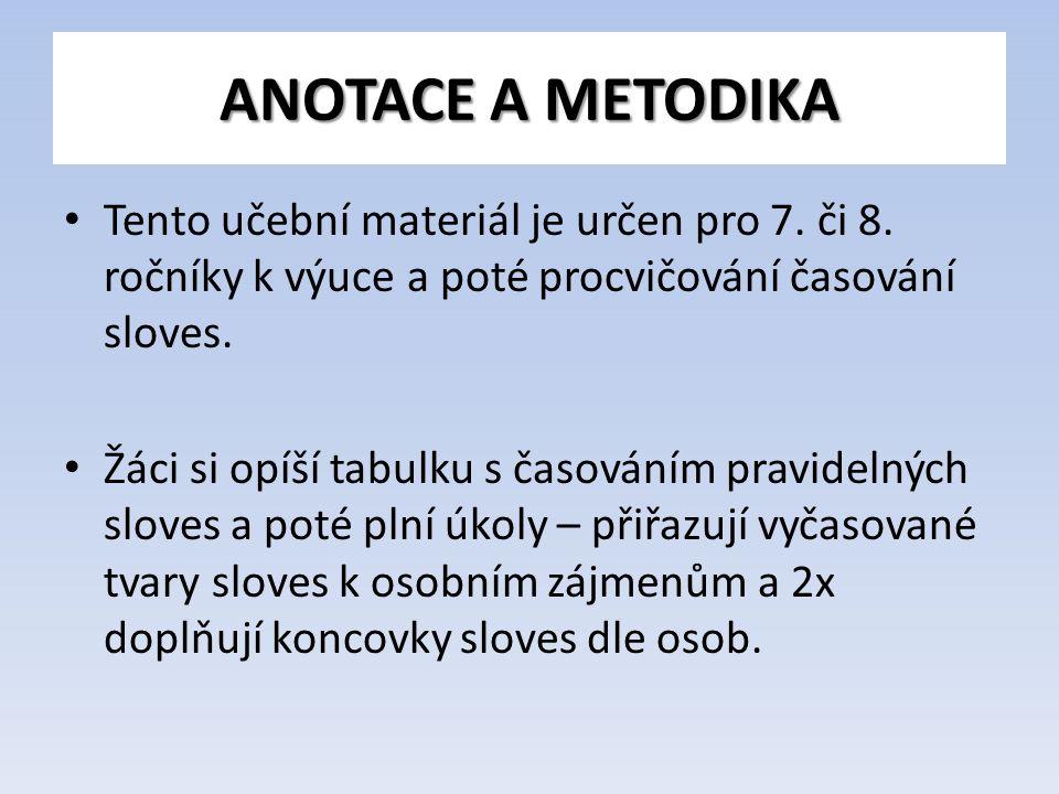ANOTACE A METODIKA Tento učební materiál je určen pro 7.