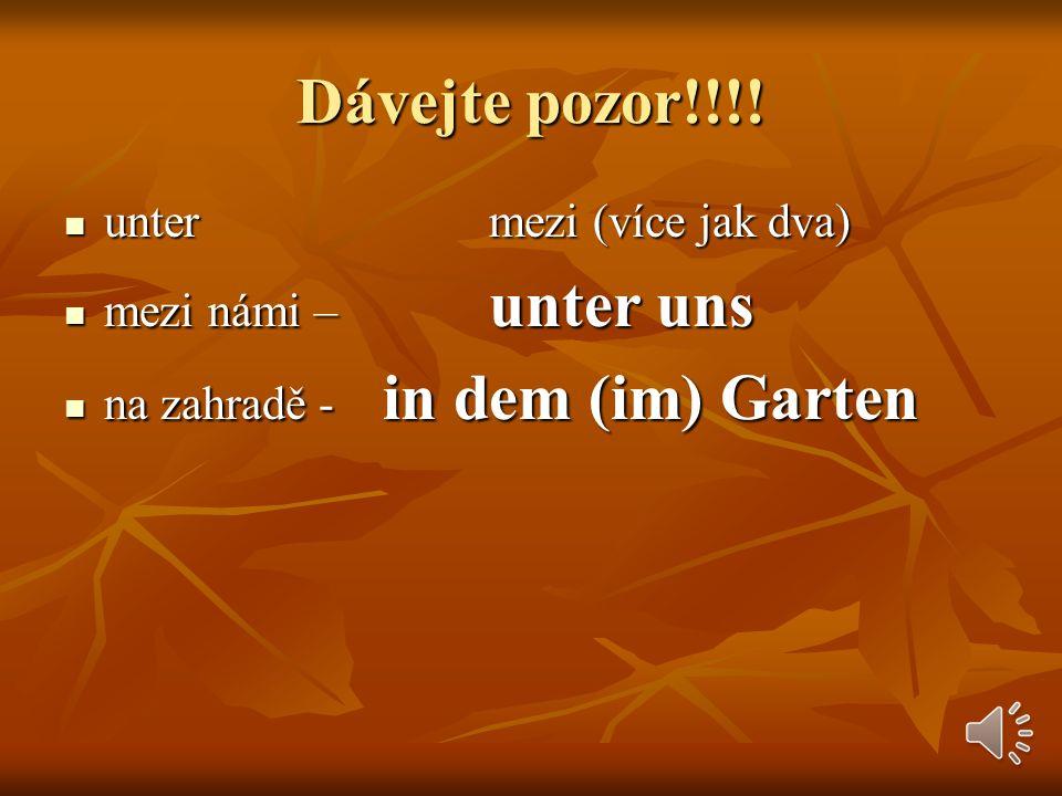 Dávejte pozor!!!! untermezi (více jak dva) mezi námi –unter uns na zahradě -in dem (im) Garten
