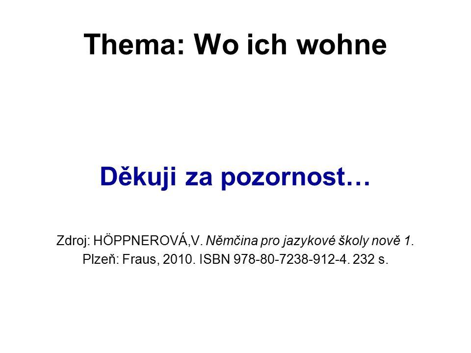 Thema: Wo ich wohne Děkuji za pozornost… Zdroj: HÖPPNEROVÁ,V.