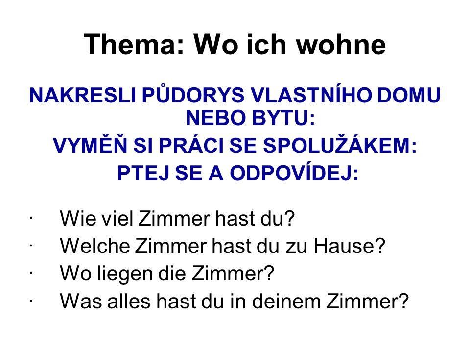 Thema: Wo ich wohne PŘEDLOŽKY SE 3.a 4.