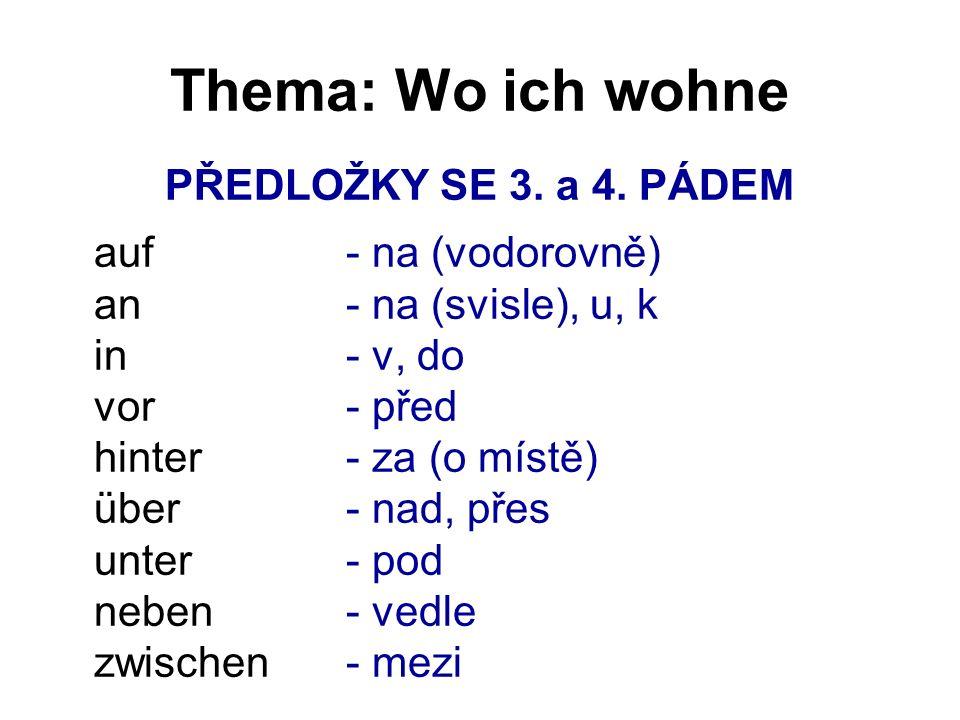 Thema: Wo ich wohne PŘEDLOŽKY SE 3. a 4.