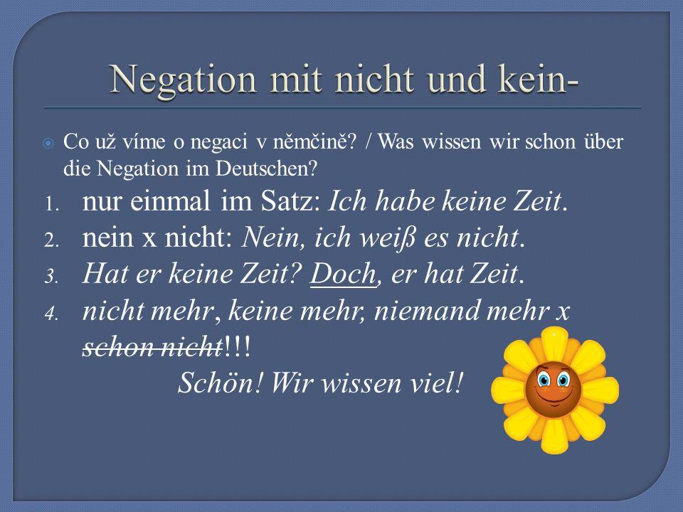  Co už víme o negaci v němčině. / Was wissen wir schon über die Negation im Deutschen.