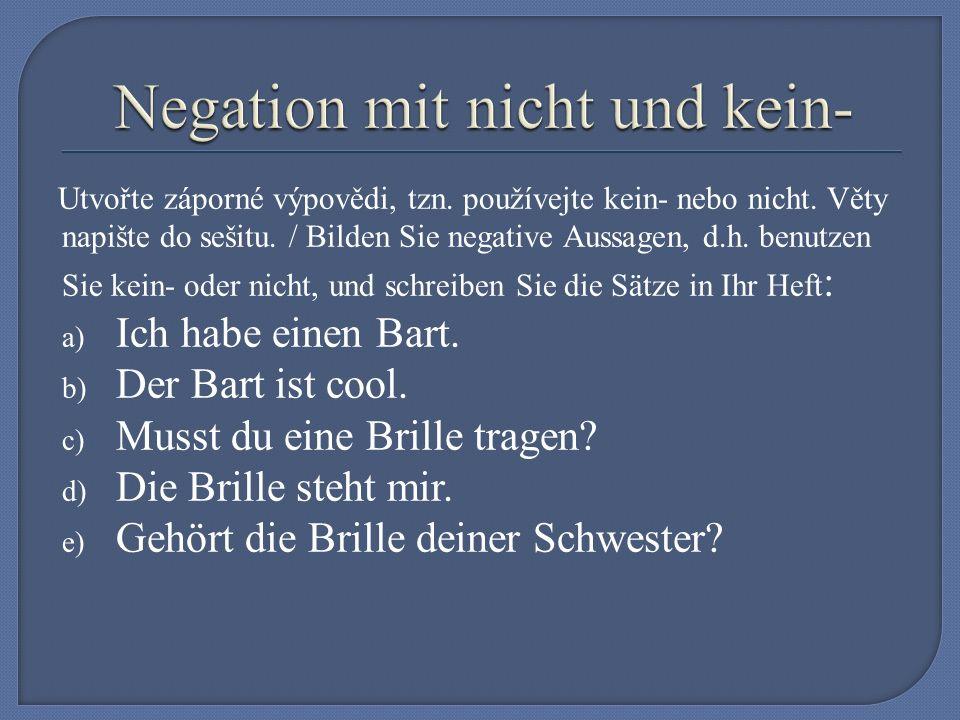 Utvořte záporné výpovědi, tzn. používejte kein- nebo nicht.