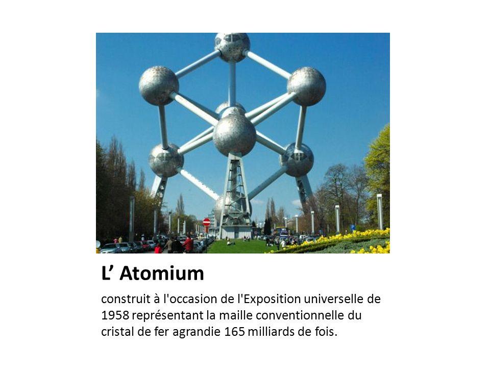 L' Atomium construit à l occasion de l Exposition universelle de 1958 représentant la maille conventionnelle du cristal de fer agrandie 165 milliards de fois.