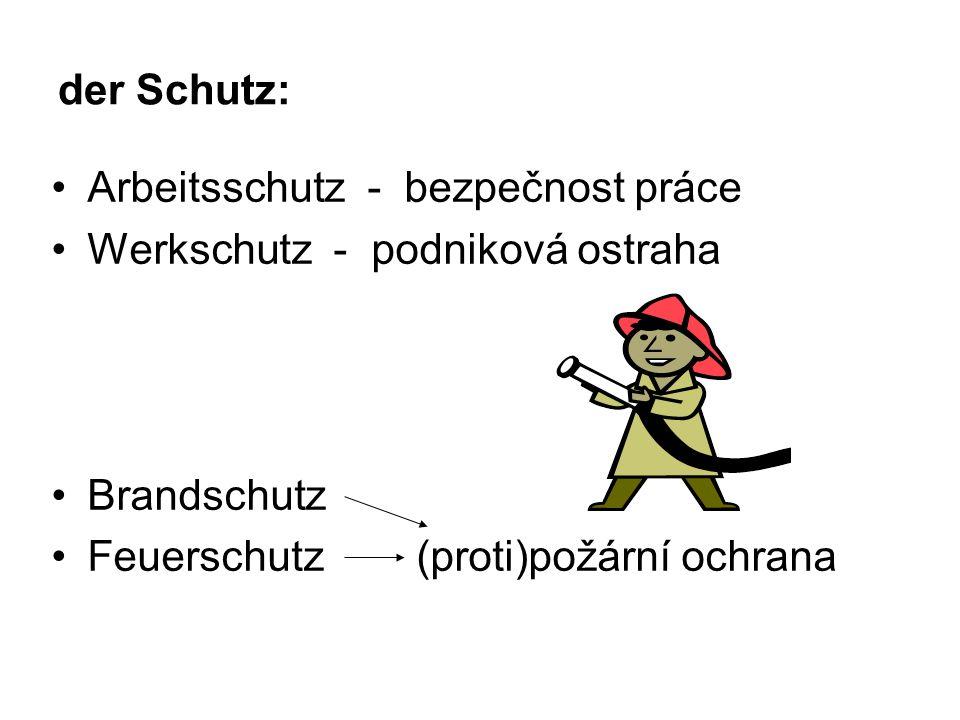 der Schutz: Arbeitsschutz - bezpečnost práce Werkschutz - podniková ostraha Brandschutz Feuerschutz (proti)požární ochrana
