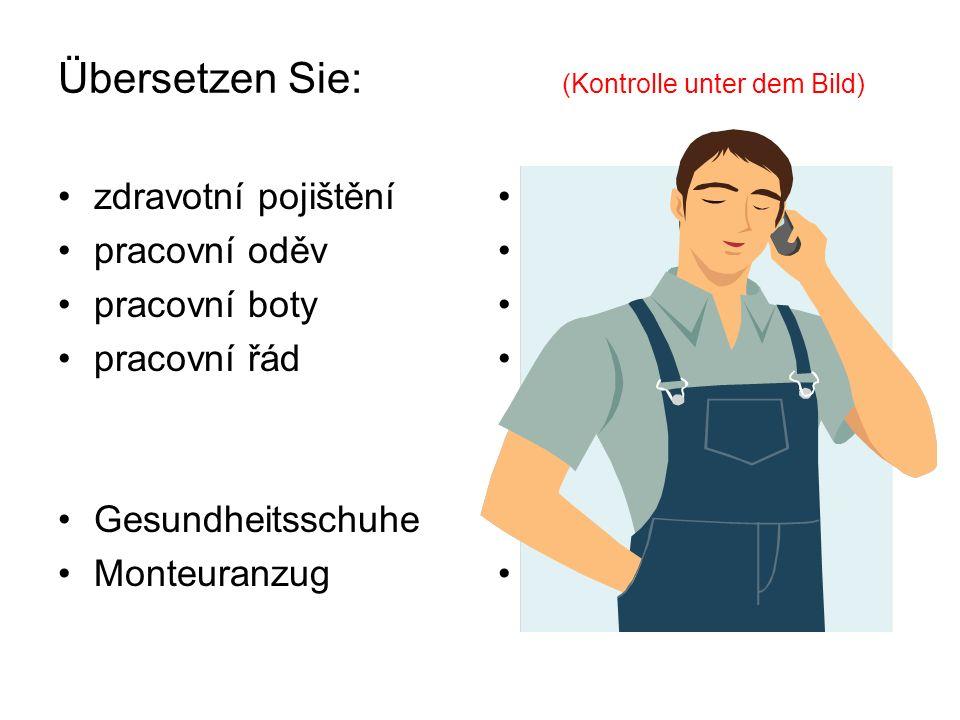 Übersetzen Sie: (Kontrolle unter dem Bild) zdravotní pojištění pracovní oděv pracovní boty pracovní řád Gesundheitsschuhe Monteuranzug Krankenversicherung Arbeitsanzug Arbeitsschuhe Arbeitsordnung zdravotní obuv montérky