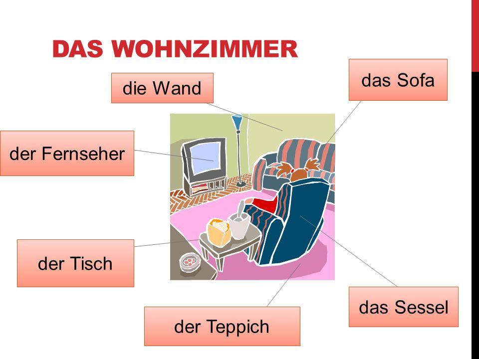 DAS WOHNZIMMER der Tisch der Fernseher die Wand das Sofa das Sessel der Teppich