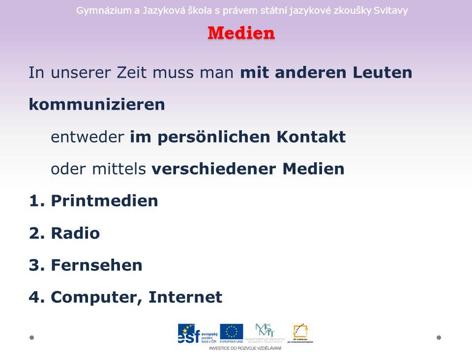 Gymnázium a Jazyková škola s právem státní jazykové zkoušky Svitavy Lösung + Beim Radiohören kann ich arbeiten oder lernen.