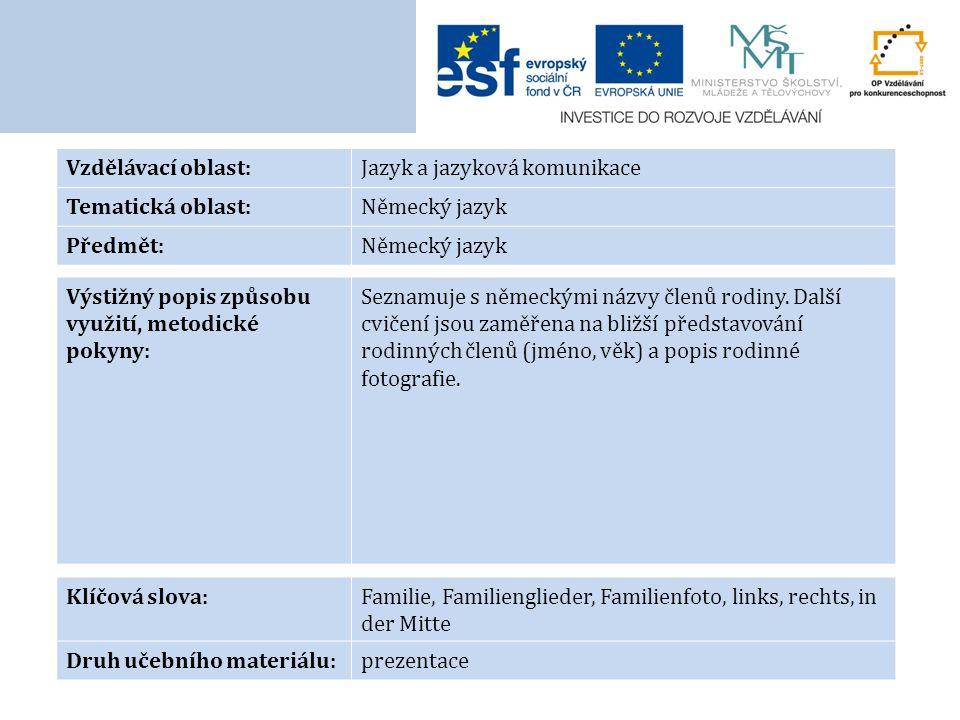 Vzdělávací oblast:Jazyk a jazyková komunikace Tematická oblast:Německý jazyk Předmět:Německý jazyk Výstižný popis způsobu využití, metodické pokyny: Seznamuje s německými názvy členů rodiny.