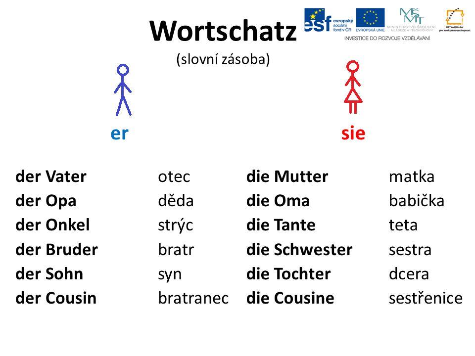Wortschatz (slovní zásoba) er der Vaterotec der Opaděda der Onkelstrýc der Bruderbratr der Sohnsyn der Cousinbratranec sie die Muttermatka die Omababička die Tanteteta die Schwestersestra die Tochterdcera die Cousinesestřenice