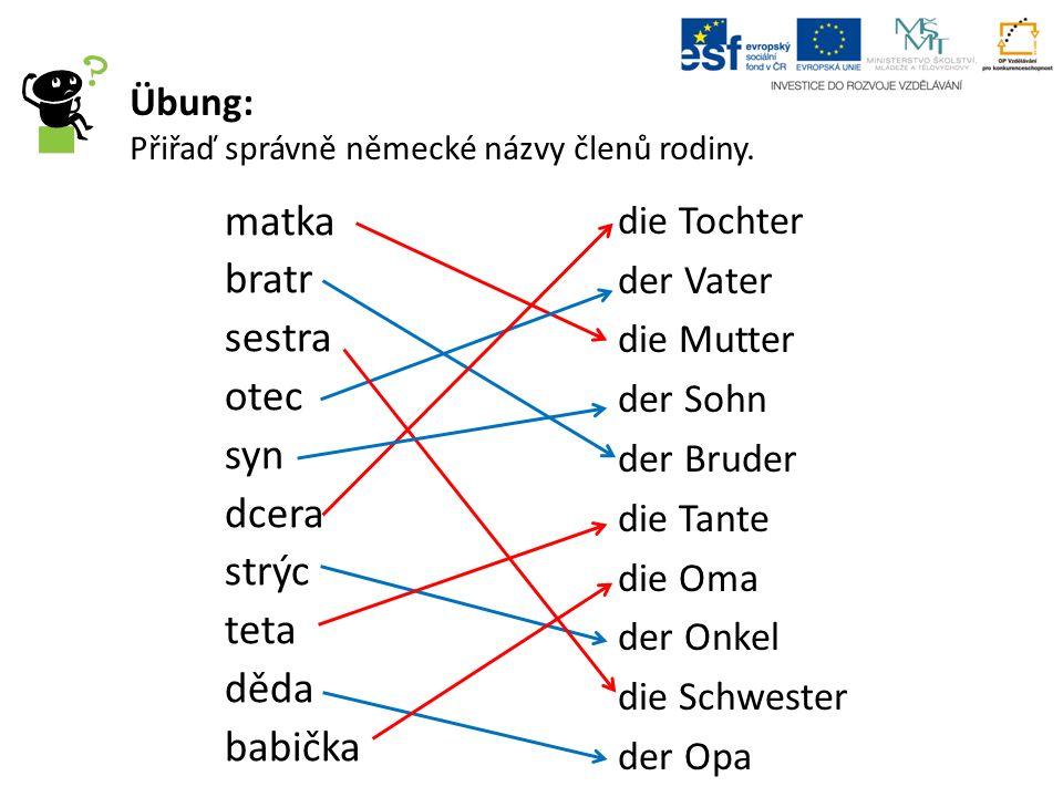 Übung: Přiřaď správně německé názvy členů rodiny.