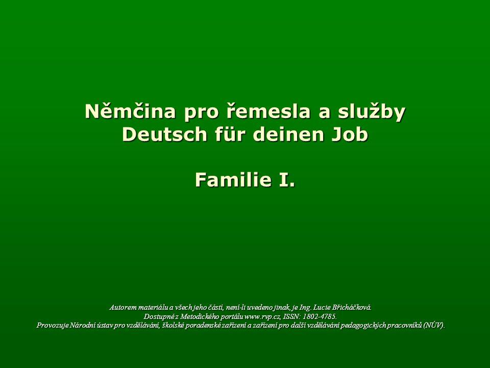 Familie I.Sein (být) Singular Plural (jednotné číslo) (množné číslo) 1.Ich bin 1.