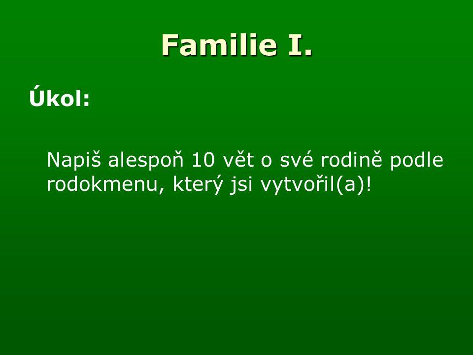 Familie I. Úkol: Napiš alespoň 10 vět o své rodině podle rodokmenu, který jsi vytvořil(a)!