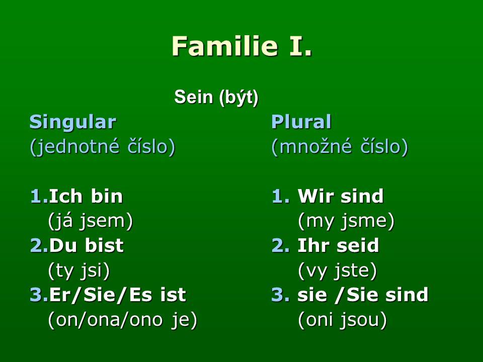 Familie I. Sein (být) Singular Plural (jednotné číslo) (množné číslo) 1.Ich bin 1.
