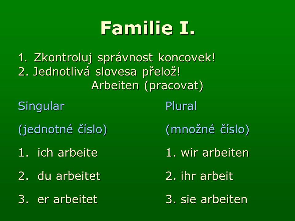 Familie I. 1. Zkontroluj správnost koncovek. 2.