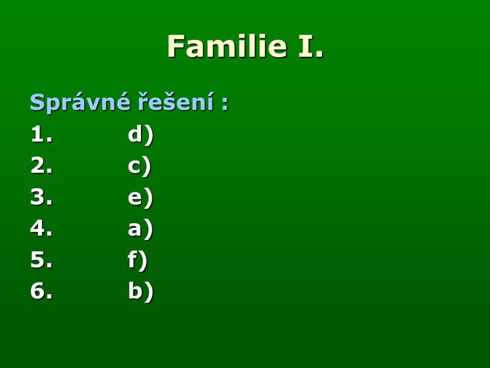 Familie I. Správné řešení : 1.d) 2.c) 3. e) 4.a) 5.f) 6.b)