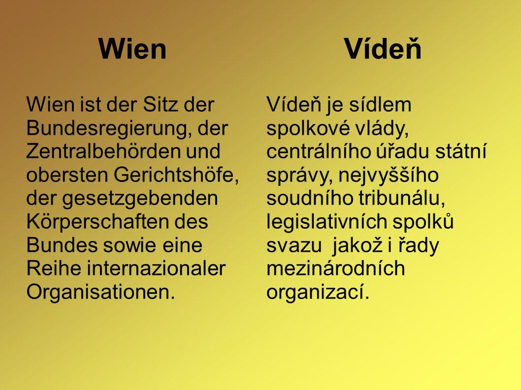 Wien Vídeň Wien ist der Sitz der Bundesregierung, der Zentralbehörden und obersten Gerichtshöfe, der gesetzgebenden Körperschaften des Bundes sowie eine Reihe internazionaler Organisationen.