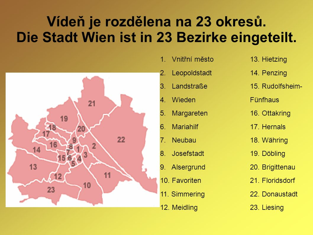 Vídeň je rozdělena na 23 okresů. Die Stadt Wien ist in 23 Bezirke eingeteilt. 1. Vnitřní město13. Hietzing 2. Leopoldstadt14. Penzing 3. Landstraße15.