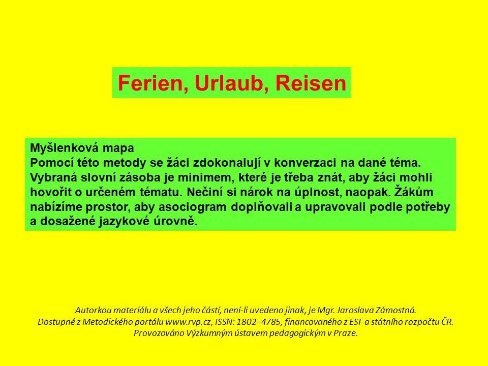 Ferien, Urlaub, Reisen Myšlenková mapa Pomocí této metody se žáci zdokonalují v konverzaci na dané téma. Vybraná slovní zásoba je minimem, které je tř