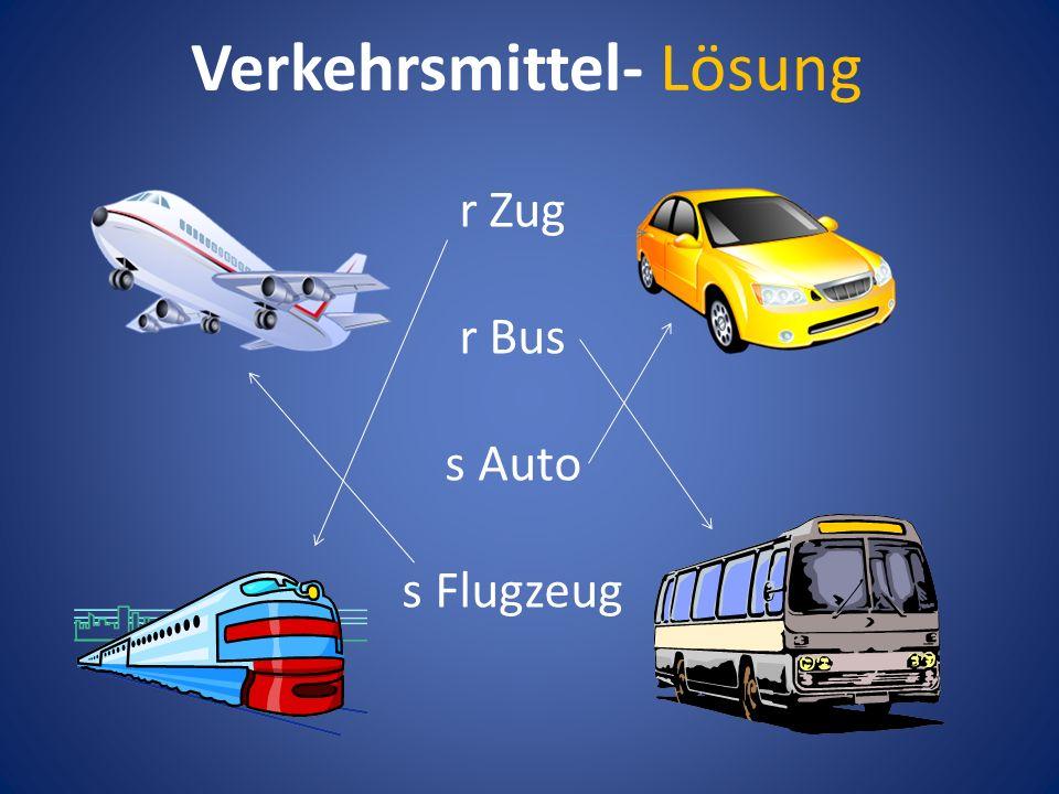 Verkehrsmittel- Lösung r Zug r Bus s Auto s Flugzeug