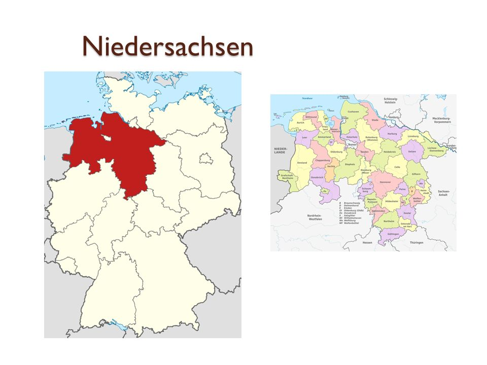 Niedersachsen das zweitgrößte deutsche Land Hannover - Landeshauptstadt von Niedersachsen Rund 82 Prozent der Fläche des Landes Niedersachsen bestehen aus Wald- und Landwirtschaftsflächen
