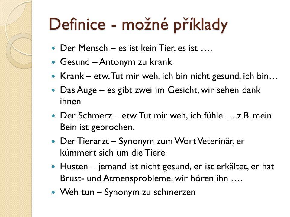 Definice - možné příklady Der Mensch – es ist kein Tier, es ist ….
