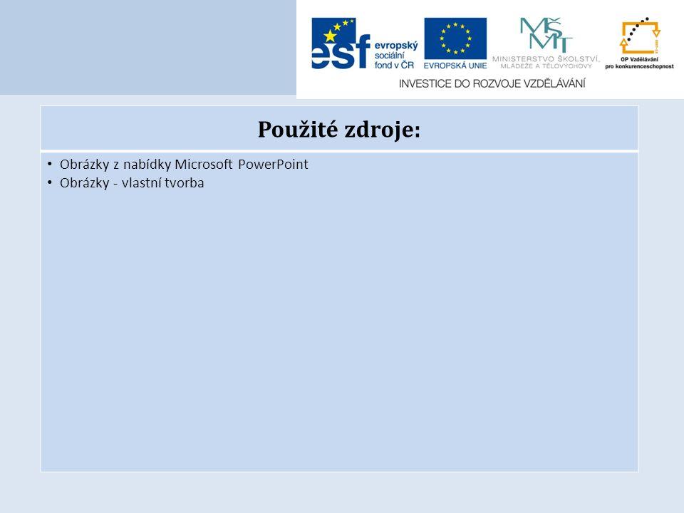 Použité zdroje: Obrázky z nabídky Microsoft PowerPoint Obrázky - vlastní tvorba