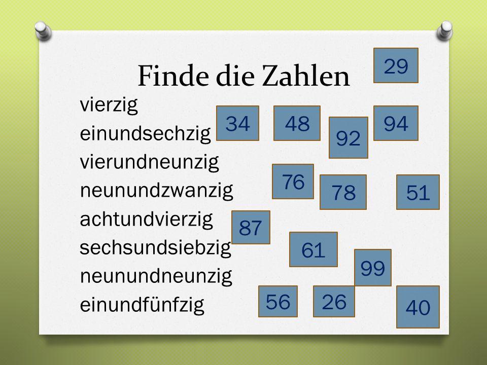 Finde die Zahlen vierzig einundsechzig vierundneunzig neunundzwanzig achtundvierzig sechsundsiebzig neunundneunzig einundfünfzig 40 48 78 61 94 51 29 99 76 56 34 87 92 26