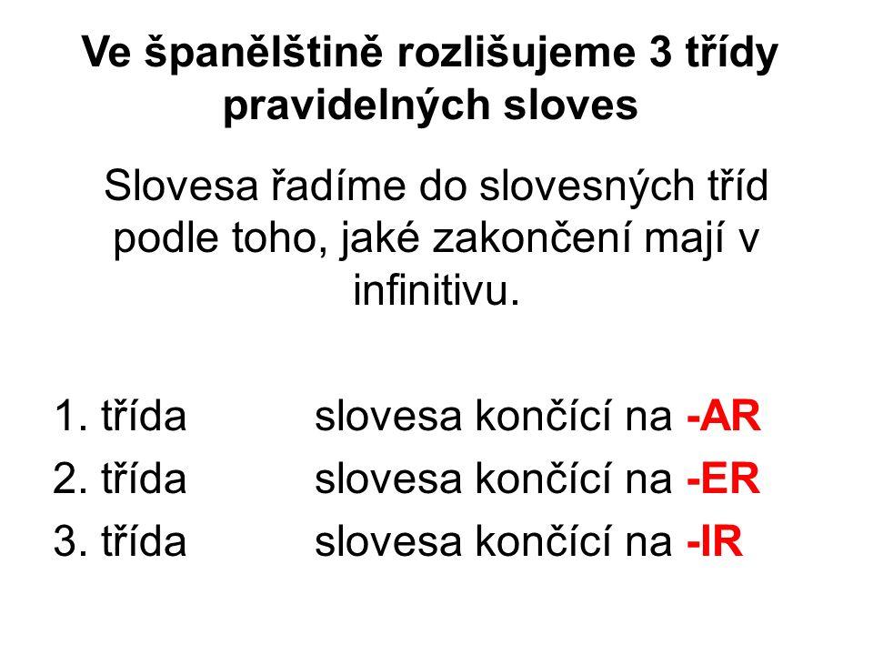 Ve španělštině rozlišujeme 3 třídy pravidelných sloves Slovesa řadíme do slovesných tříd podle toho, jaké zakončení mají v infinitivu.