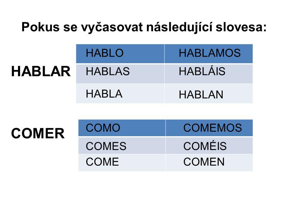 Pokus se vyčasovat následující slovesa: HABLAR COMER HABLO HABLAS HABLA HABLAMOS HABLÁIS HABLAN COMO COMES COME COMEMOS COMÉIS COMEN