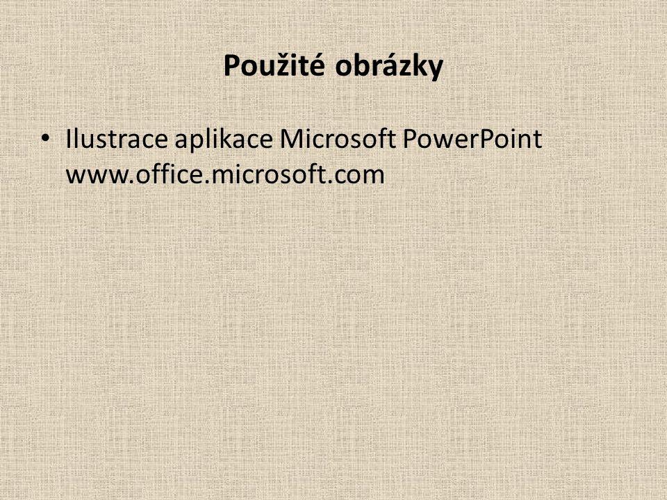 Použité obrázky Ilustrace aplikace Microsoft PowerPoint www.office.microsoft.com