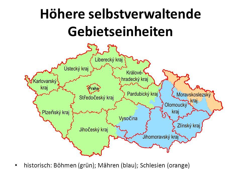 Höhere selbstverwaltende Gebietseinheiten historisch: Böhmen (grün); Mähren (blau); Schlesien (orange)
