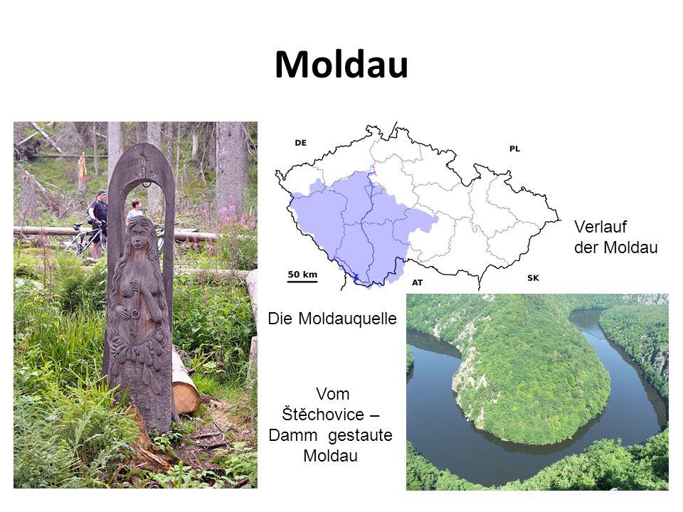 Moldau Verlauf der Moldau Vom Štěchovice – Damm gestaute Moldau Die Moldauquelle