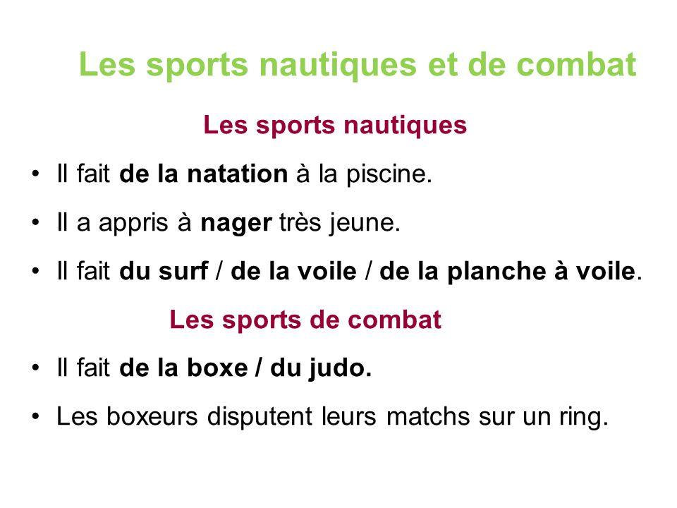 Les sports nautiques et de combat Les sports nautiques Il fait de la natation à la piscine.