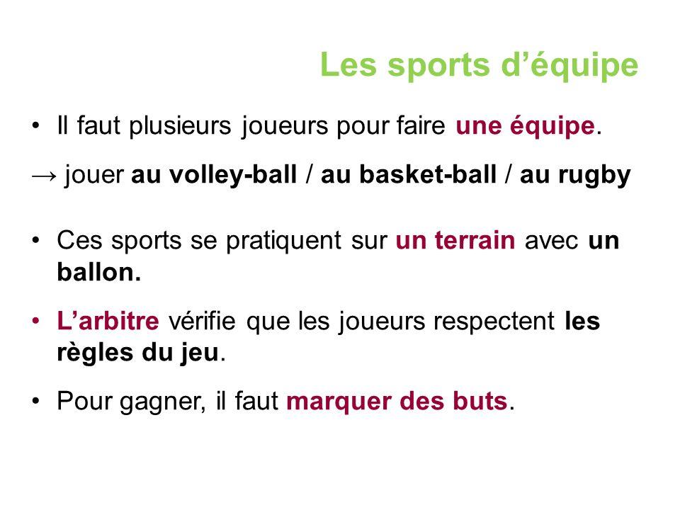 Les sports d'équipe Il faut plusieurs joueurs pour faire une équipe.