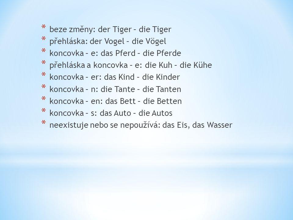* beze změny: der Tiger – die Tiger * přehláska: der Vogel – die Vögel * koncovka – e: das Pferd – die Pferde * přehláska a koncovka – e: die Kuh – di
