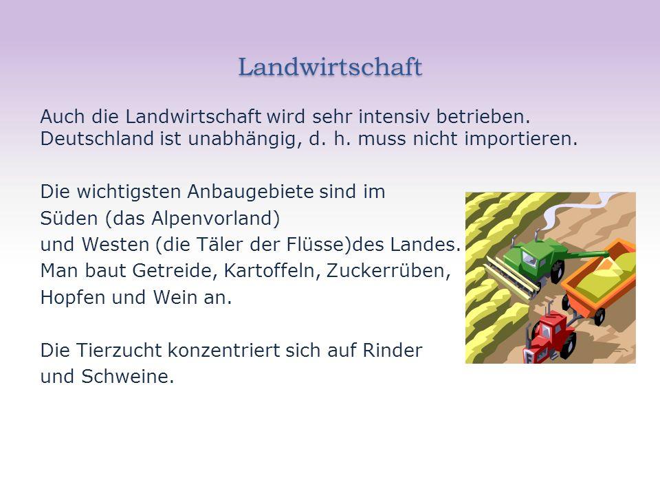 Landwirtschaft Auch die Landwirtschaft wird sehr intensiv betrieben. Deutschland ist unabhängig, d. h. muss nicht importieren. Die wichtigsten Anbauge