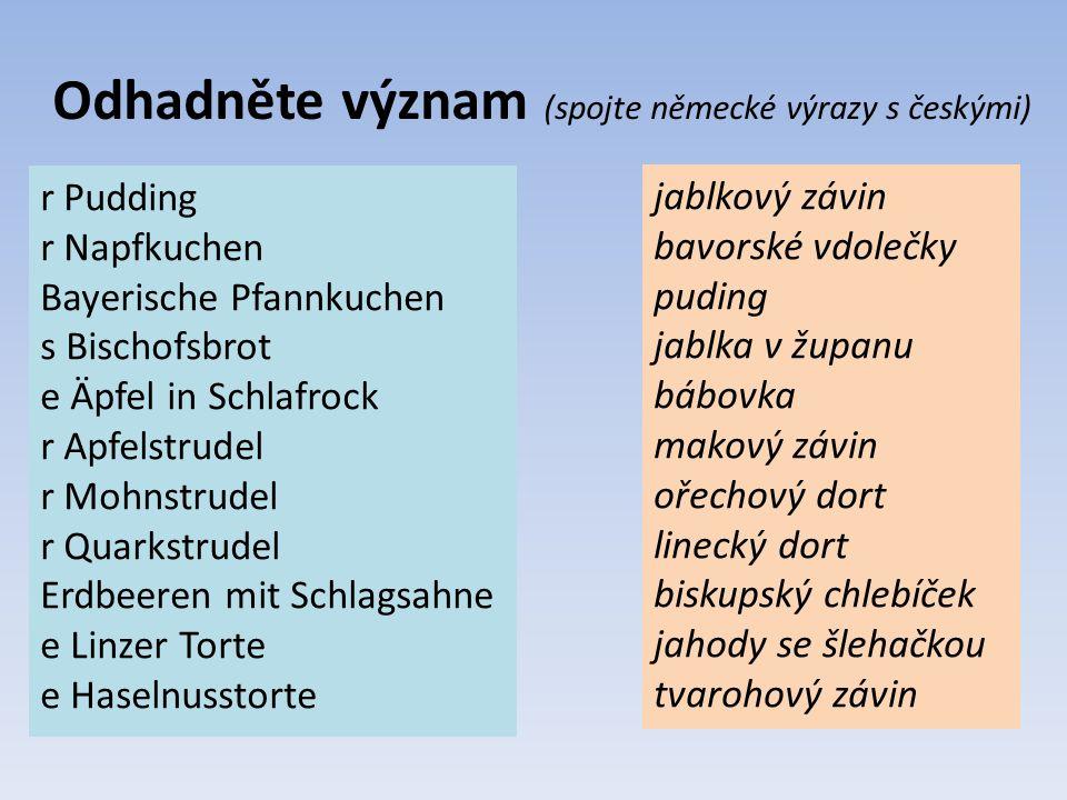 Odhadněte význam (spojte německé výrazy s českými) r Pudding r Napfkuchen Bayerische Pfannkuchen s Bischofsbrot e Äpfel in Schlafrock r Apfelstrudel r