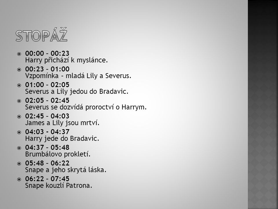  00:00 – 00:23 Harry přichází k myslánce.  00:23 – 01:00 Vzpomínka – mladá Lily a Severus.  01:00 – 02:05 Severus a Lily jedou do Bradavic.  02:05