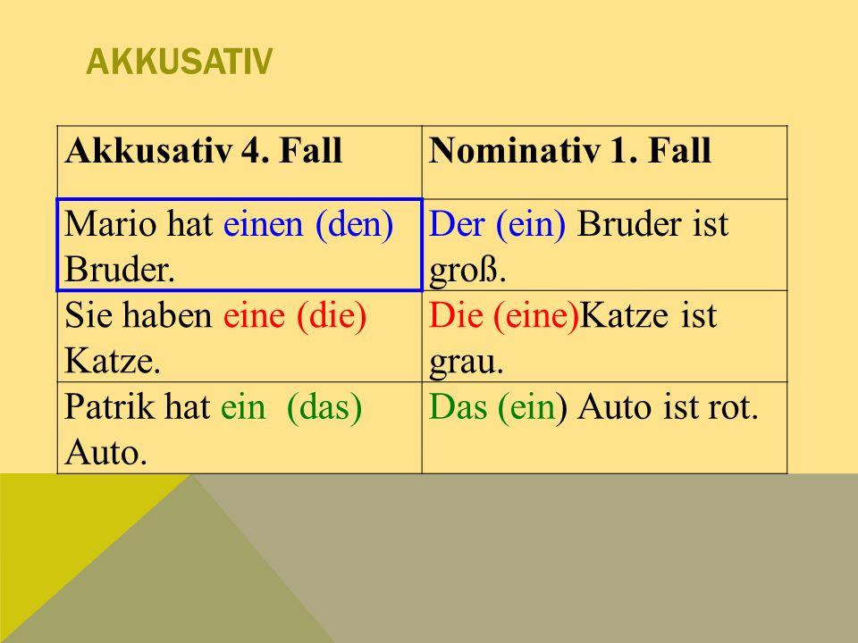 AKKUSATIV Akkusativ 4.FallNominativ 1. Fall Mario hat einen (den) Bruder.