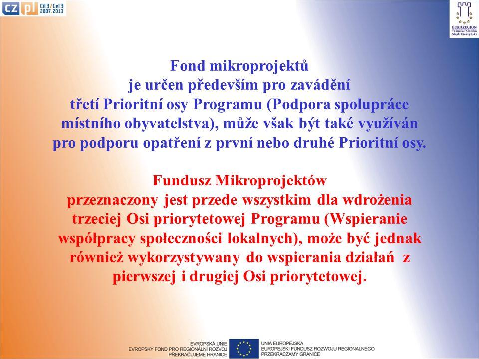 Fond mikroprojektů je určen především pro zavádění třetí Prioritní osy Programu (Podpora spolupráce místního obyvatelstva), může však být také využíván pro podporu opatření z první nebo druhé Prioritní osy.